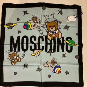 NWT Moschino Teddy Bear Space Square Silk Scarf